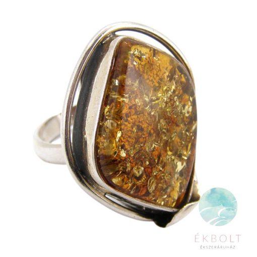 Ezüst gyűrű borostyán kővel 64330