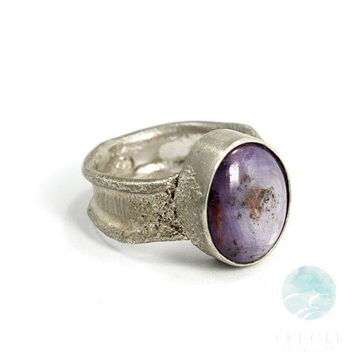 Ezüst gyűrű csillag zafír kővel 68692