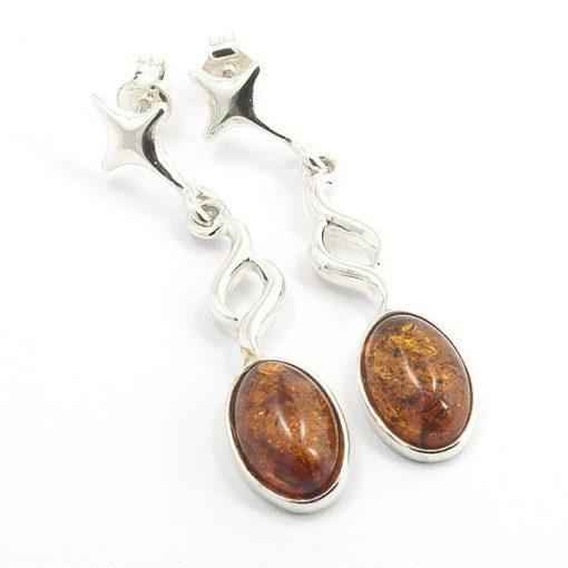 Ezüst fülbevaló borostyán kővel 68843