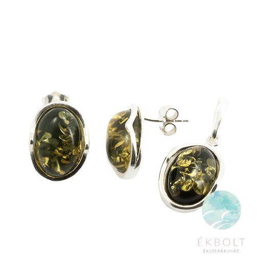 Ezüst medál és fülbevaló szett borostyán kővel  70908