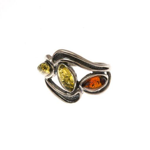 Ezüst gyűrű borostyán kővel 71989