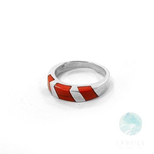 Ezüst gyűrű korall kővel 72206