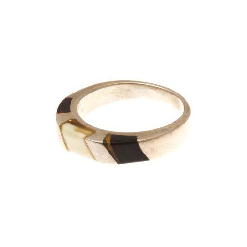 Ezüst gyűrű borostyán kővel 72389