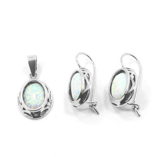 Ezüst medál és fülbevaló szett opál kővel 75051