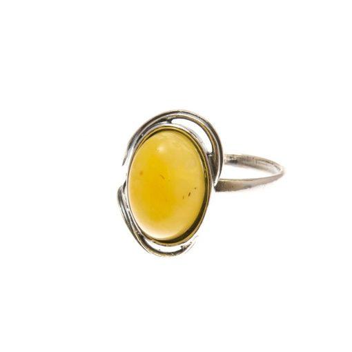 Ezüst gyűrű borostyán kővel 75202