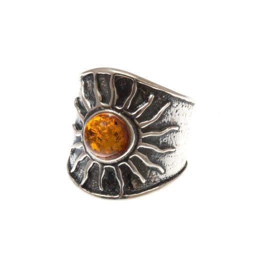 Ezüst gyűrű borostyán kővel 75251