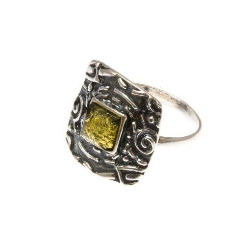 Ezüst gyűrű borostyán kővel 75254