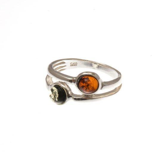Ezüst gyűrű borostyán kővel 75289