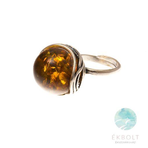 Ezüst gyűrű borostyán kővel 75350
