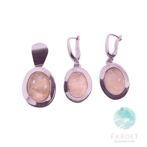 Ezüst medál és fülbevaló szett rózsakvarc kővel 77234