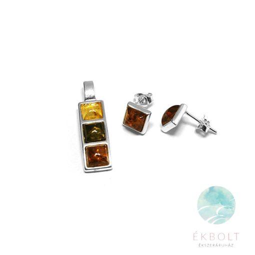 Ezüst medál és fülbevaló szett borostyán kővel  78001