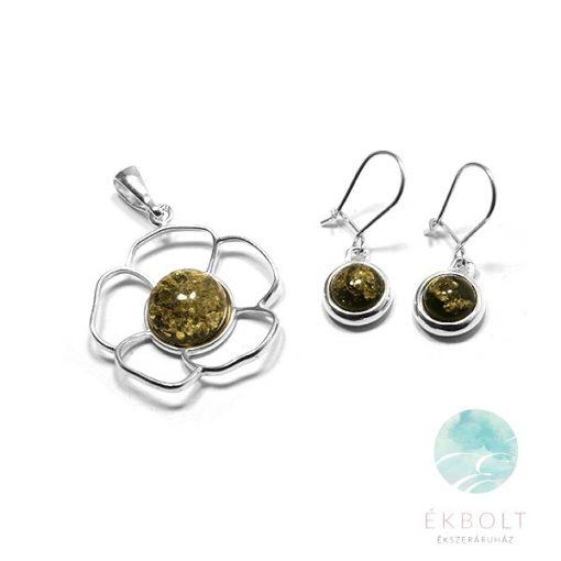 Ezüst medál és fülbevaló szett borostyán kővel  78007