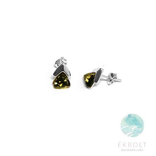 Ezüst fülbevaló borostyán kővel 78200