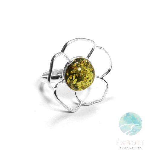 Ezüst gyűrű borostyán kővel 78307