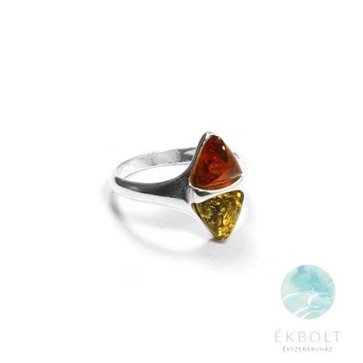 Ezüst gyűrű borostyán kővel 78380