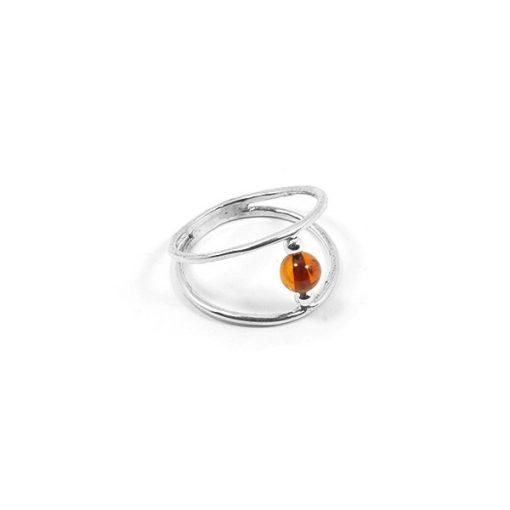 Ezüst gyűrű borostyán kővel 78714