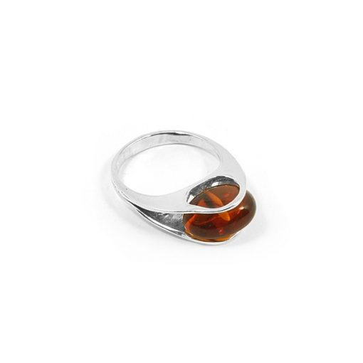 Ezüst gyűrű borostyán kővel 78723