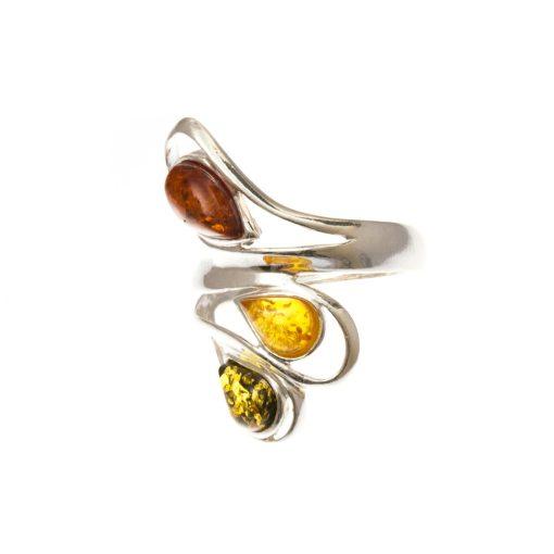 Ezüst gyűrű borostyán kővel 80040