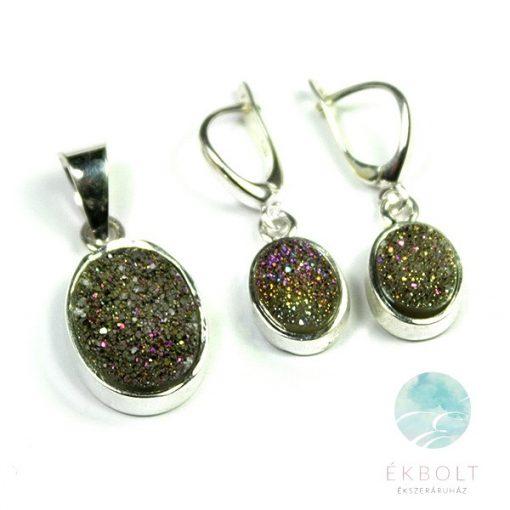 Ezüst medál és fülbevaló szett achát kővel   82519